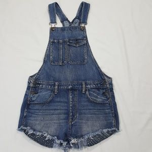 American Eagle Jean Raw Hem Short Overalls Small